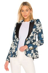 Smythe Blocked Peaked Lapel Blazer Blue