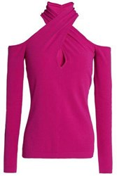 Milly Off The Shoulder Stretch Knit Top Fuchsia