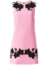 Dolce And Gabbana Rose Embroidered Shift Dress Pink Purple
