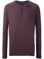 Theory Henley Longsleeved T Shirt Red