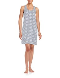 Lord And Taylor Plus Print Chemise Ocean Blue