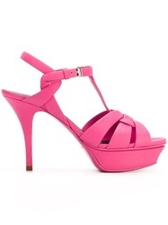 Saint Laurent 'Tribute' Mid Heel Sandals Pink And Purple