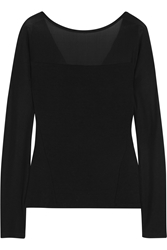 Donna Karan Paneled Stretch Jersey Top