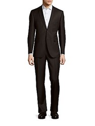 Saks Fifth Avenue Made In Italy Slim Fit Wool And Silk Pinstripe Suit Black