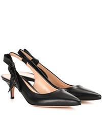 Gianvito Rossi Leather Sling Back Pumps Black