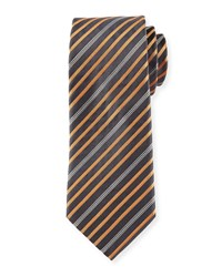Six Striped Silk Tie Tan Gray Tan Grey Davidoff