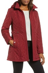 Gallery Quilted Hooded Jacket Merlot
