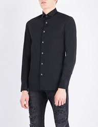 Philipp Plein Skull Button Platinum Cut Stretch Cotton Shirt Black