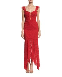 Milly Melissa Italian Stretch Lace Body Con Gown Red