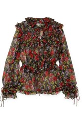 Dolce And Gabbana Pussy Bow Ruffled Floral Print Silk Chiffon Blouse Black