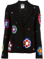 Moschino Flower Applique Blazer Black