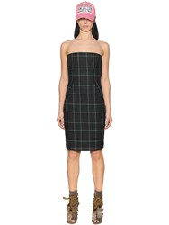 Dsquared Plaid Felted Wool Bustier Dress