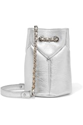 Jerome Dreyfuss Popeye Mini Metallic Textured Leather Bucket Bag Silver