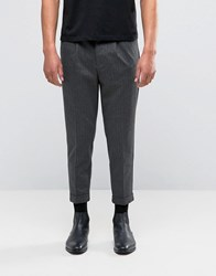 Selected Homme Cropped Skinny Smart Trouser In Pinstripe Grey