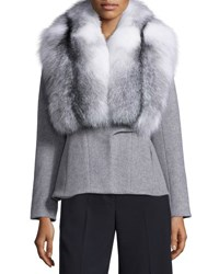 Jonathan Simkhai Wool Cashmere Coat W Removable Fox Fur Collar Dark Gray