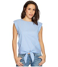 Bishop Young Hampton Blouse Blue White Stripe Women's Blouse Navy