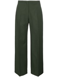 Khaite Charlize Straight Leg Cotton Trousers Green