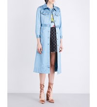 Marc Jacobs Longline Satin Jean Coat Dusty Blue