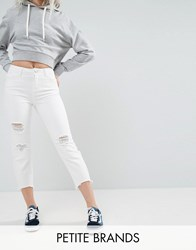 Noisy May Petite Distressed Crop Jeans White