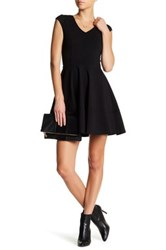Love Ady V Neck Fit And Flare Dress Black