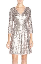 Petite Women's Eliza J Sequin Mesh Fit And Flare Dress
