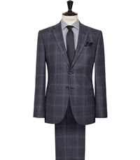 Reiss Caine Check Wool Suit In Airforce Blue