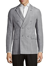 Faconnable Plaid Double Breasted Jacket Grey
