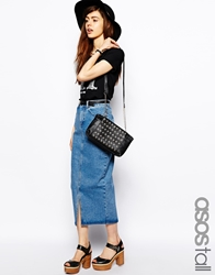 Asos Tall Asos Denim Mom Skirt In Mid Vintage Wash Blue