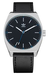 Adidas Process Leather Strap Watch 38Mm Silver Black