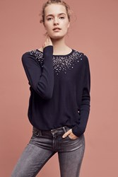 Anthropologie Knotted Confetti Pullover Navy