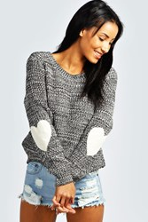 Boohoo Heart Elbow Patch Jumper Charcoal