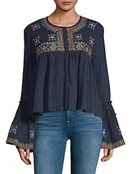 Kas Megan Embroidered Cotton Top Navy
