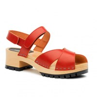 Swedish Hasbeens Cross Tracta Sandals Red
