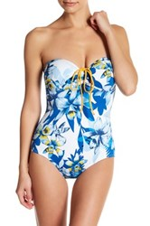 Tommy Bahama Fall Floral Bandeau One Piece Swimsuit Blue