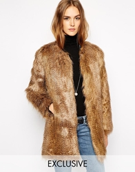 Unreal Fur Exclusive To Asos Wanderlust Coat In Natural Racoon Naturalracoon
