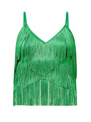Norma Kamali Tiered Fringe Stretch Jersey Crop Top Green