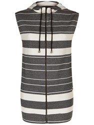 Jaeger Cotton Jersey Stripe Gilet Black Ivory