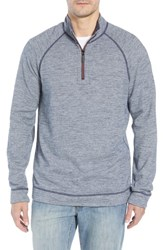 Tommy Bahama Big And Tall On The Doubles Mock Neck Quarter Zip Pullover Blue Note Heather