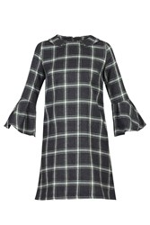 Jolie Moi Checked Fluted Sleeve Tunic Green