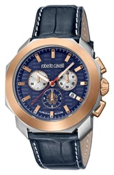 Roberto Cavalli By Franck Muller Sport Chronograph Leather Strap Watch Blue Silver Blue