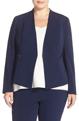 Plus Size Women's Halogen Zip Pocket Open Jacket Navy Peacoat