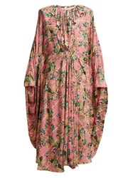 Vetements Floral Print Pleated Jersey Midi Dress Pink Multi