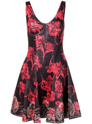 Roberto Cavalli Parrot Tulip Print Mini Dress Black