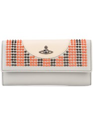 Vivienne Westwood 'Sloane' Embellished Wallet Women Leather One Size Nude Neutrals
