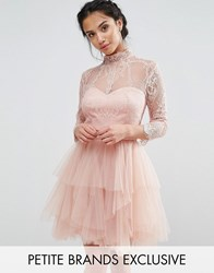 Chi Chi Petite London Allover Lace Mini Prom Dress With Ruffle Layered Skirt Nude Pink