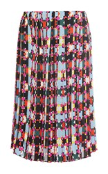 Emilio Pucci Pleated Knee Length Silk Skirt Multi