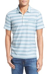 Men's Billy Reid 'Pensacola' Trim Fit Stripe Jersey Polo White Teal