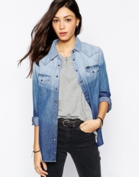 Lee Jeans Long Sleeve Checked Western Ombre Shirt Blue