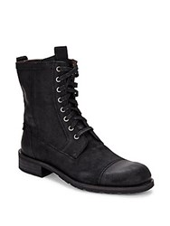 John Varvatos Round Toe Lace Up Leather Boots Black