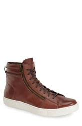 Andrew Marc New York Men's Remsen Sneaker Brown White Leather